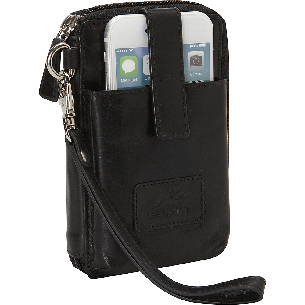 Mancini Leather Goods Cell Phone RFID Wallet Black Mancini Leather Goods Women s Wallets