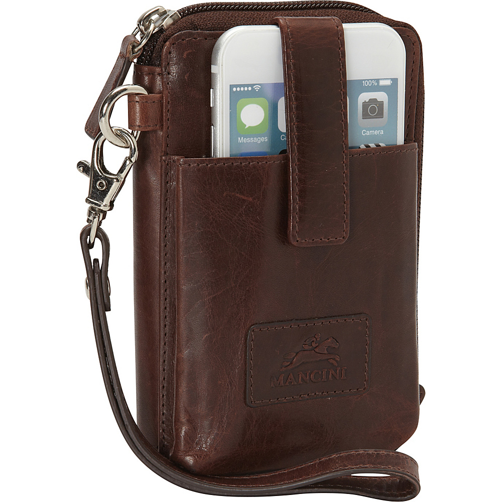 Mancini Leather Goods Cell Phone RFID Wallet Brown Mancini Leather Goods Women s Wallets