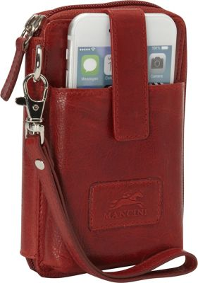 Mancini Leather Goods Casablanca Collection: Women's RFID Cell Phone Wallet Red - Mancini Leather Goods Women's Wallets