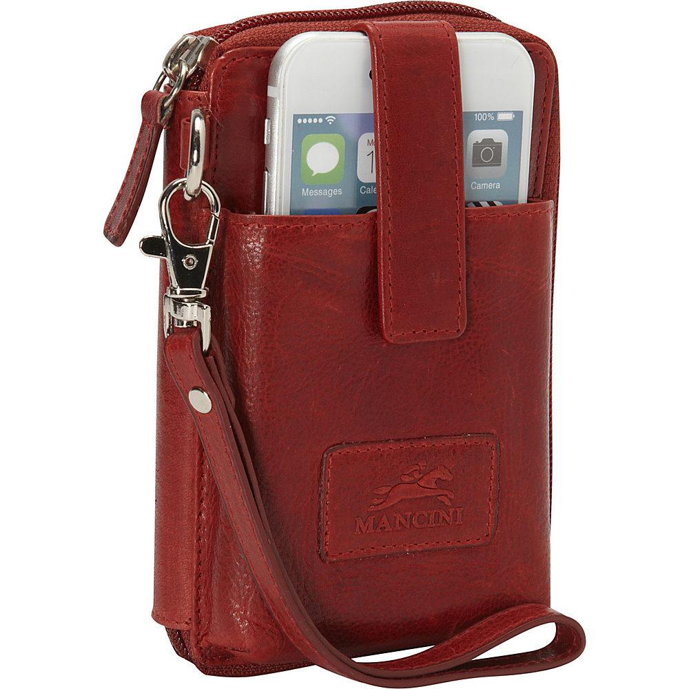 Mancini Leather Goods Cell Phone RFID Wallet Red Mancini Leather Goods Women s Wallets
