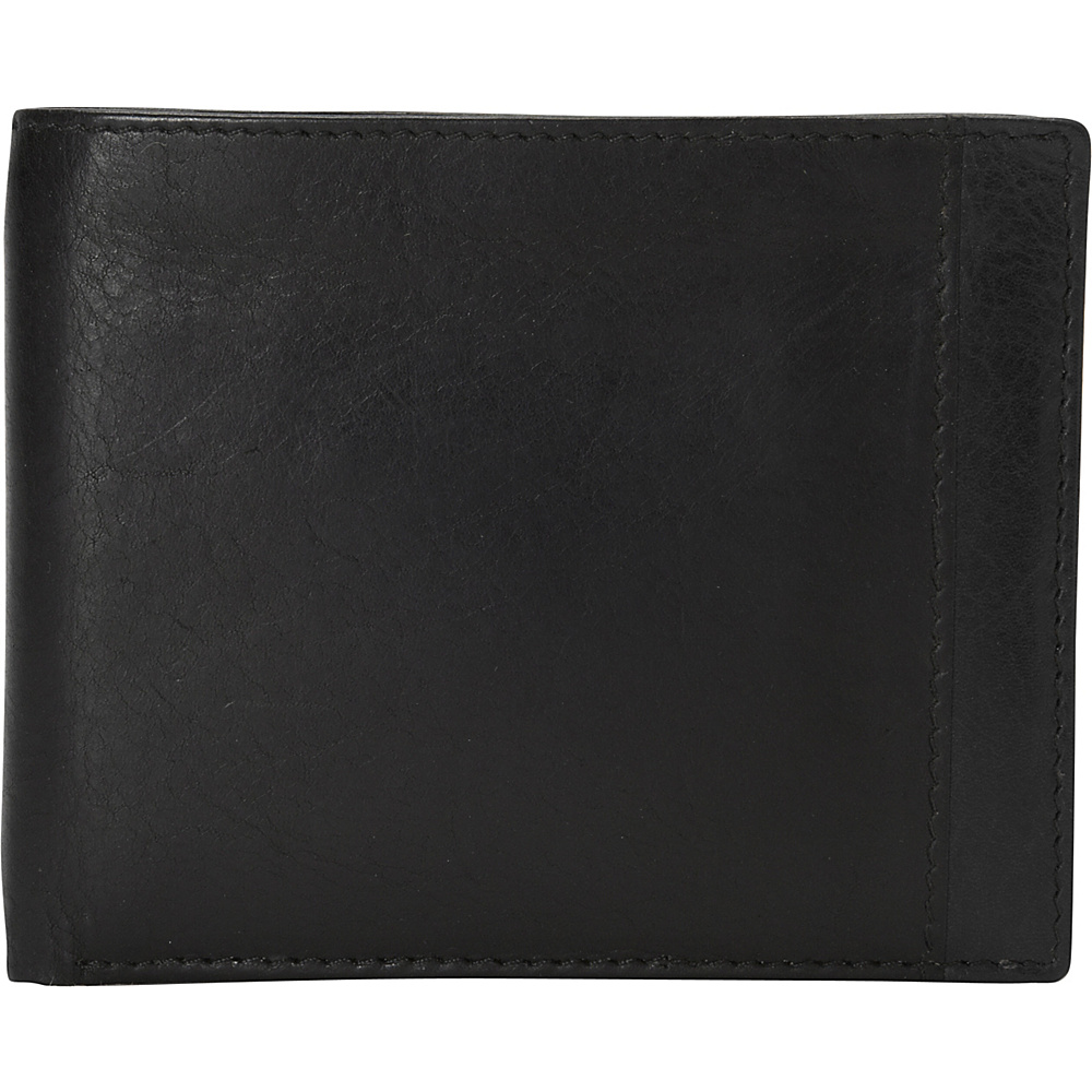 Mancini Leather Goods Mens RFID Billfold with Removable Passcase Black Mancini Leather Goods Men s Wallets