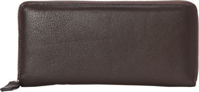 R & R Collections Top Zip Around Ladies Wallets Brown - R & R Collections Women's Wallets