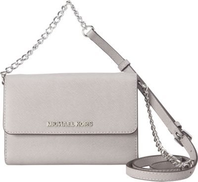 MICHAEL Michael Kors Jet Set Large Phone Crossbody Pearl Grey - MICHAEL Michael Kors Designer Handbags