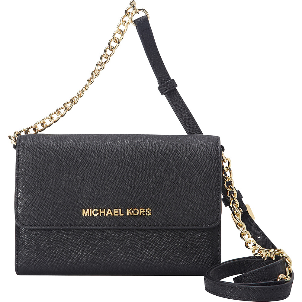 MICHAEL Michael Kors Jet Set Large Phone Crossbody Black - MICHAEL Michael Kors Designer Handbags