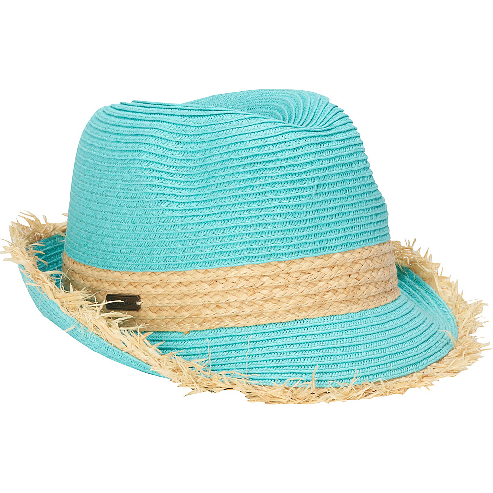 Sun N Sand Paper Braid Fedora with Fringe Brim One Size - Teal - Sun N Sand Hats - Fashion Accessories, Hats