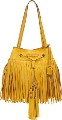 Frye Heidi Fringe Bucket Lemon - Frye Designer Handbags