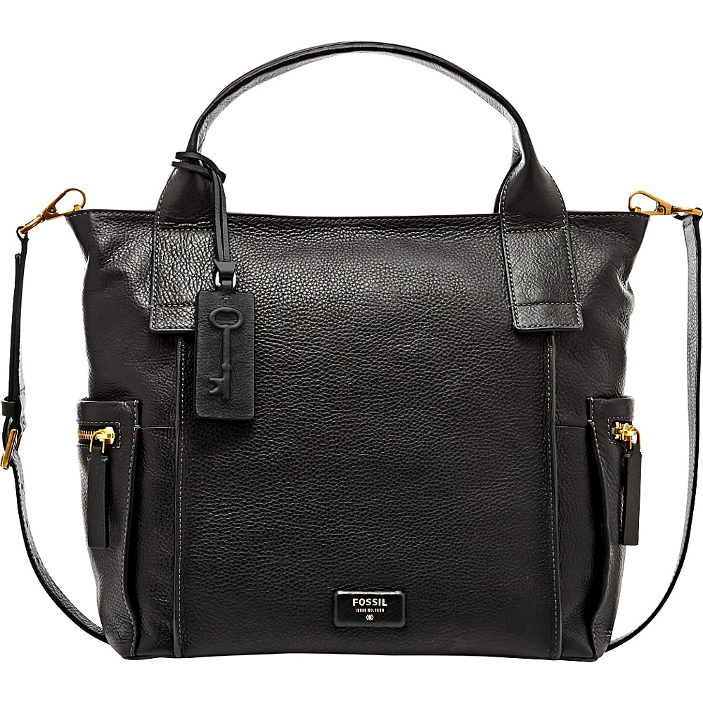 Leather Fossil The Most Competitive Prices For Handbags Bags Emerson Satchel In Seaglass Black