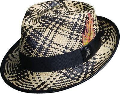 Carlos Santana Hats Fenix Panama Fedora M - Black - Large - Carlos Santana Hats Hats/Gloves/Scarves