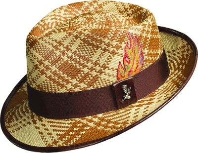 Carlos Santana Hats Fenix Panama Fedora Brown-Medium - Carlos Santana Hats Hats/Gloves/Scarves