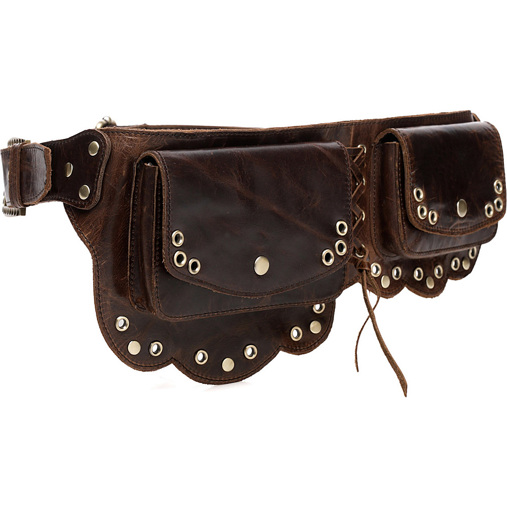 Vicenzo Leather Nieve Chic Genuine Leather Fanny Pack Waist Pack Brown Vicenzo Leather Waist Packs