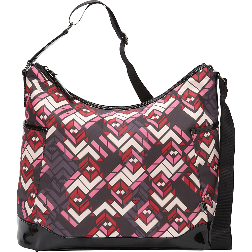 OiOi Chevron Patent Trim Hobo Diaper Bag Red/Black - OiOi Diaper Bags & Accessories