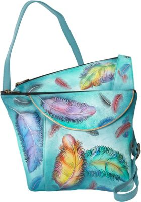 Image of Anuschka Asymmetric Slim Crossbody Floating Feathers - Anuschka Leather Handbags