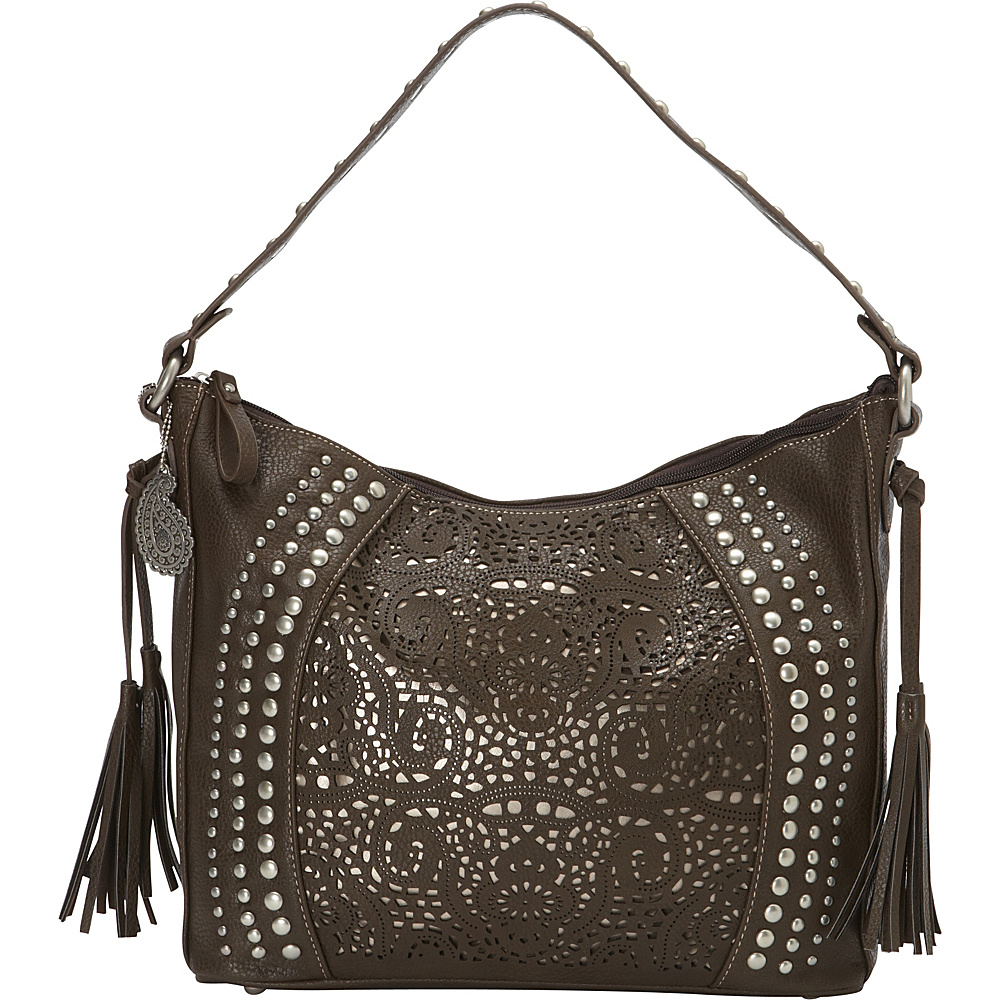 Bandana Mesa Collection Slouch Hobo Shoulder Bag CHOCOLATE METALLIC Bandana Manmade Handbags