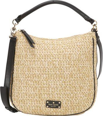 kate spade new york Cobble Hill Straw Small Ella Satchel Natural/Black - kate spade new york Designer Handbags