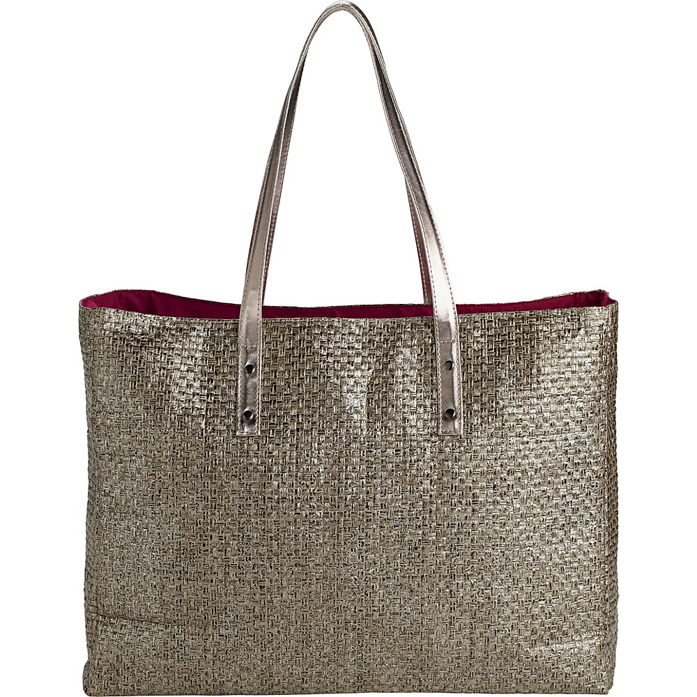 San Diego Hat Woven Paper Bag with Faux Leather Trim Gunmetal - San Diego Hat Fabric Handbags