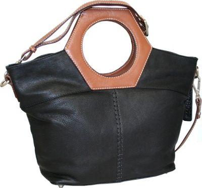 Nino Bossi Cut it Out Satchel Black - Nino Bossi Leather Handbags