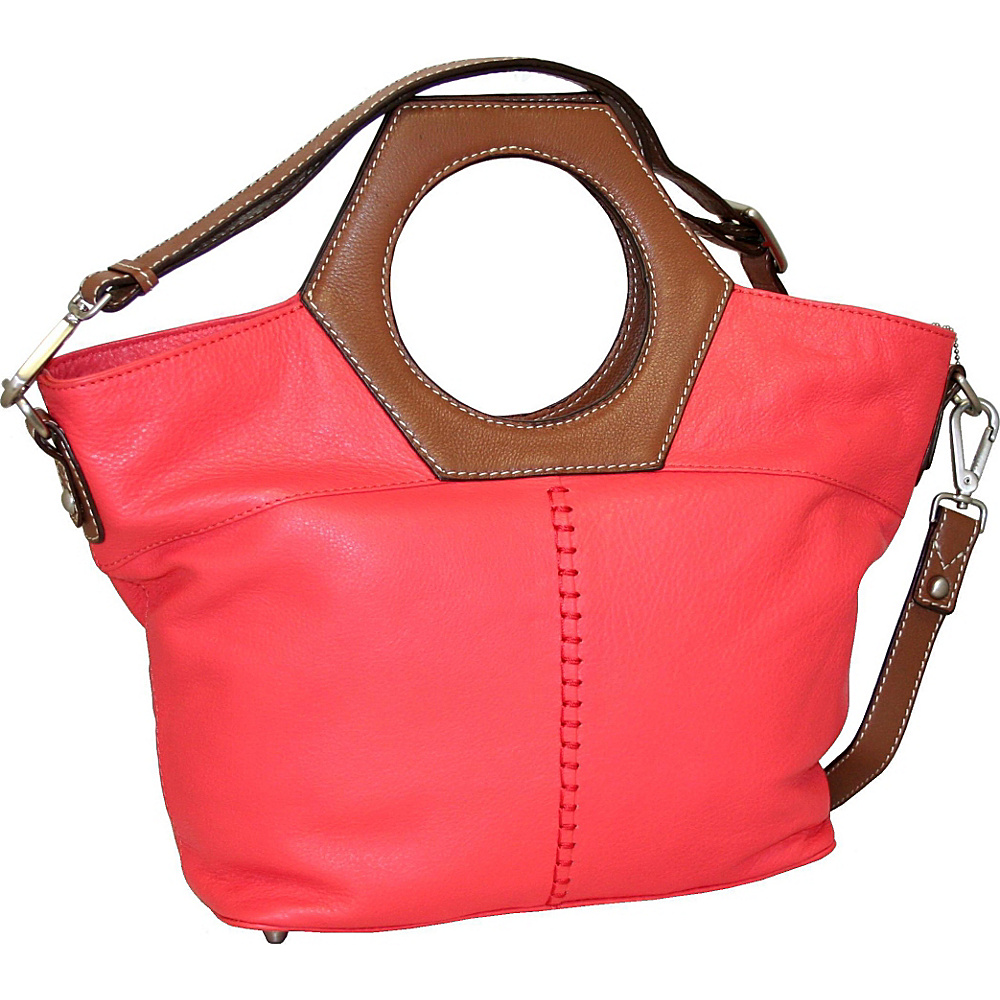 Nino Bossi Cut it Out Satchel Coral Nino Bossi Leather Handbags