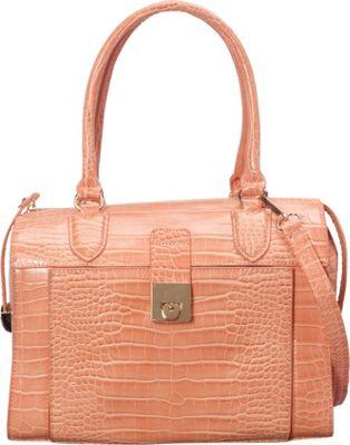 SW Global Essie Glossy Crocodile Pattern Satchel Peach - SW Global Manmade Handbags