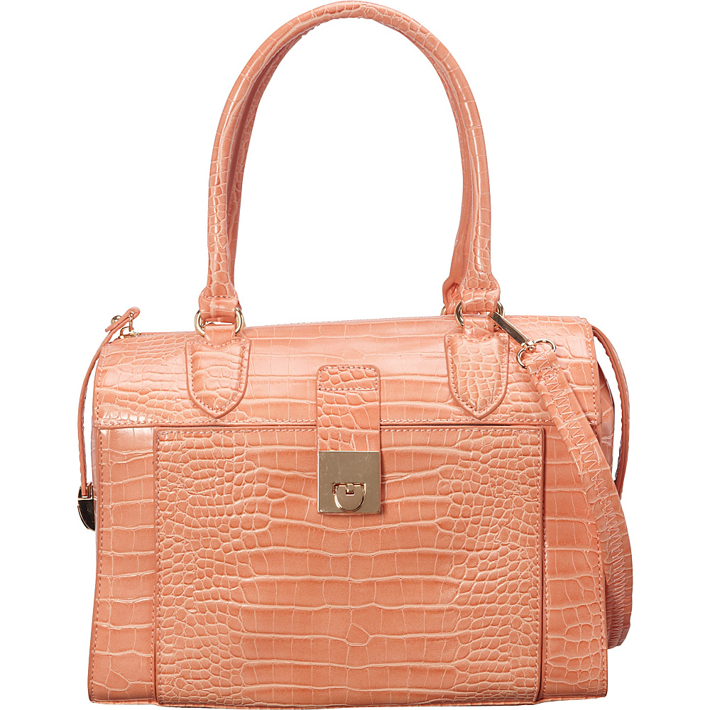 SW Global Essie Glossy Crocodile Pattern Satchel Peach - SW Global Manmade Handbags - Handbags, Manmade Handbags