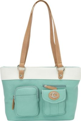Image of Aurielle-Carryland Bernina 2 Tone Tote Mint/White - Aurielle-Carryland Manmade Handbags