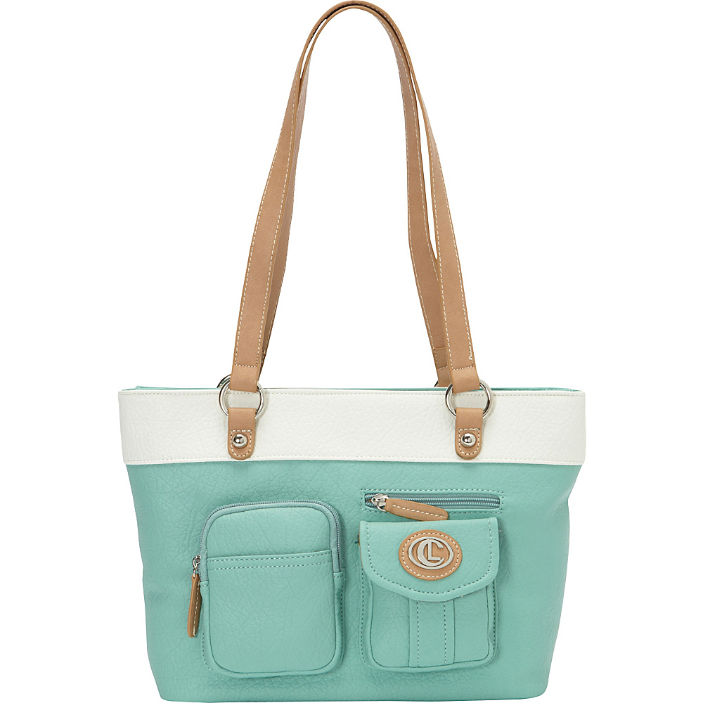 Aurielle Carryland Bernina 2 Tone Tote Mint White Aurielle Carryland Manmade Handbags
