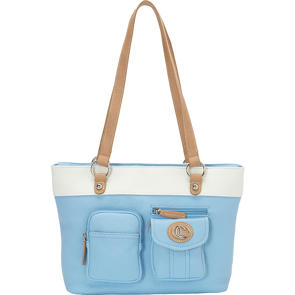 Aurielle Carryland Bernina 2 Tone Tote Sky Aurielle Carryland Manmade Handbags
