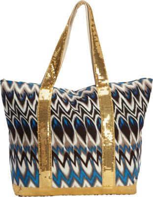 Magid Glitter Tribal Tote Blue -Magid Fabric Handbags