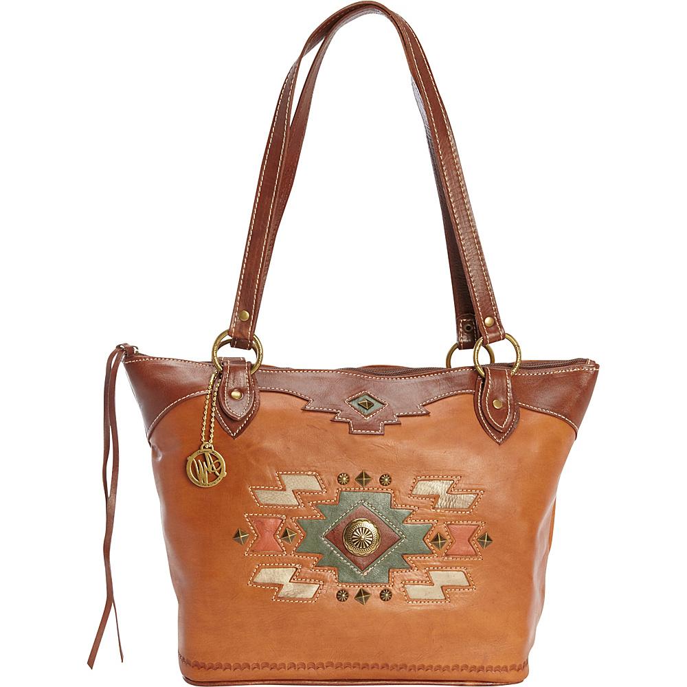 American West Zuni Passage Zip Top Bucket Tote Golden Tan American West Leather Handbags
