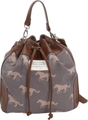 Sloane Ranger Drawstring Bucket Bag Grey Horse - Sloane Ranger Fabric Handbags
