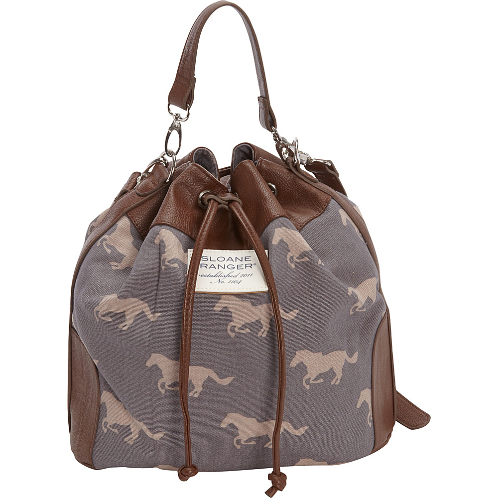 Sloane Ranger Drawstring Bucket Bag Grey Horse - Sloane Ranger Fabric Handbags