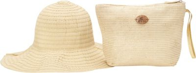 Cappelli Pack A Hat Wristlet with Hat Gold - Cappelli Straw Handbags