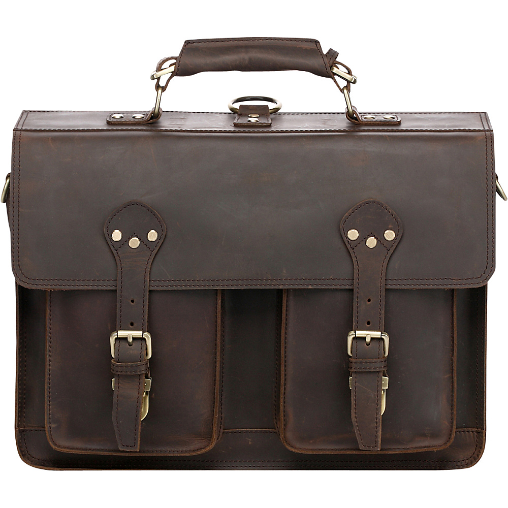 Vicenzo Leather Cambridge Full Grain Leather Briefcase Backpack Dark Brown - Vicenzo Leather Non-Wheeled Business Cases