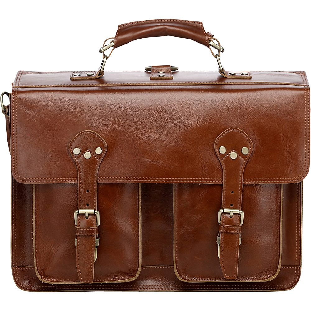 Vicenzo Leather Cambridge Full Grain Leather Briefcase Backpack Tan Vicenzo Leather Non Wheeled Business Cases