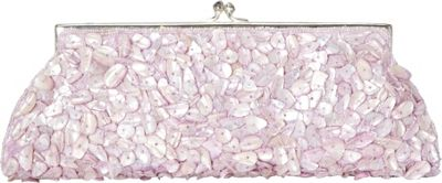 Moyna Handbags Framed Mother of Pearl Chips Clutch Lavender - Moyna Handbags Evening Bags