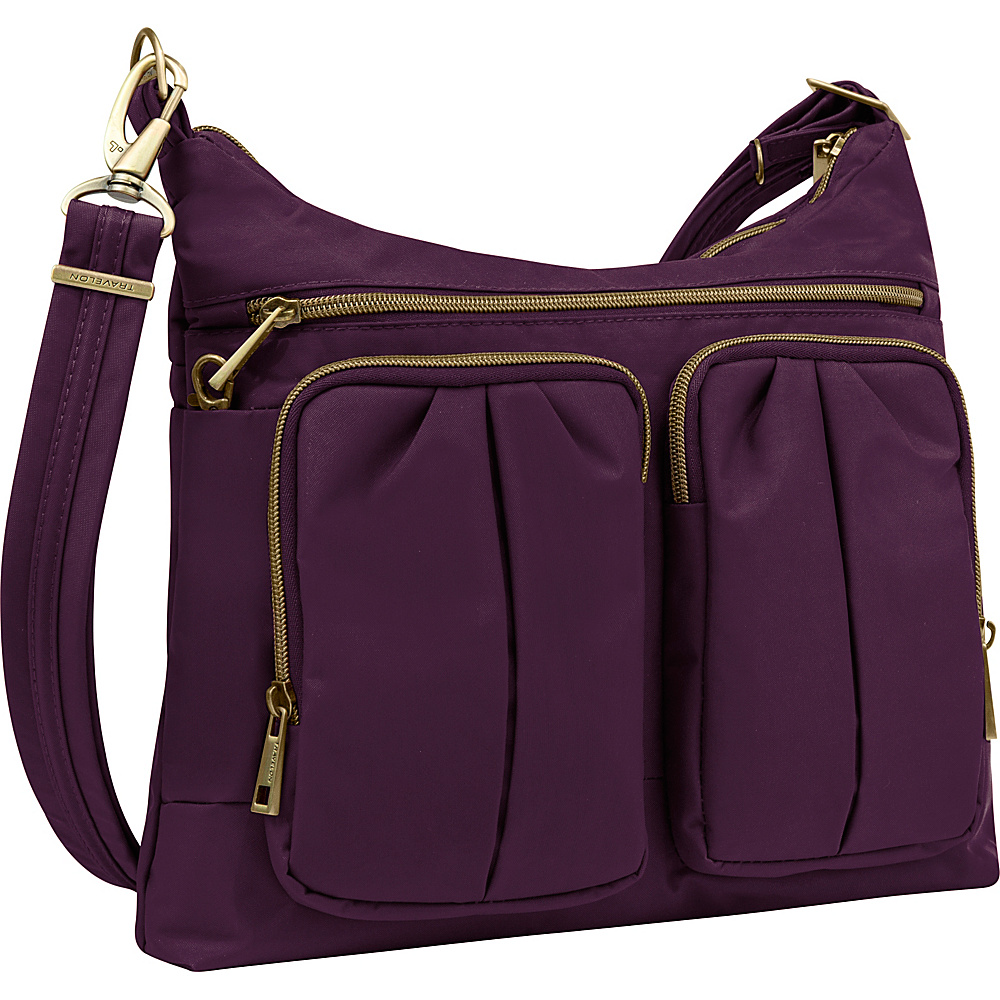Travelon Anti Theft Signature Twin Pocket Hobo Purple Gray Travelon Fabric Handbags
