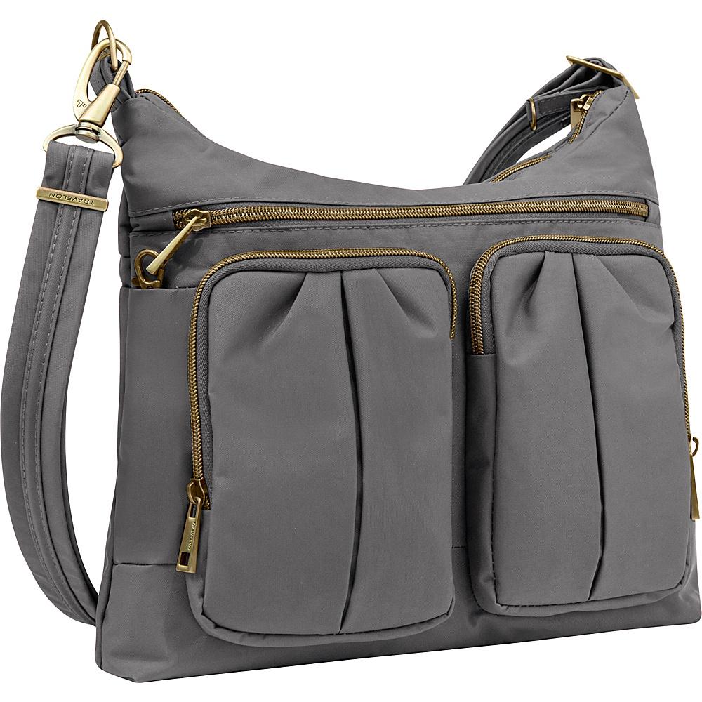 Travelon Anti-Theft Signature Twin Pocket Hobo Pewter/Coral - Travelon Fabric Handbags - Handbags, Fabric Handbags