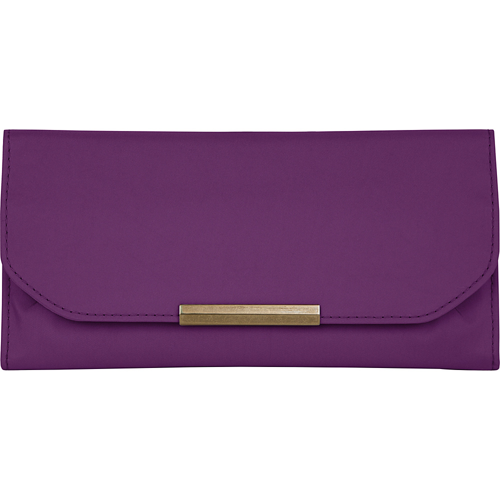 Travelon RFID Signature Pleated Trifold Wallet Purple Travelon Women s Wallets