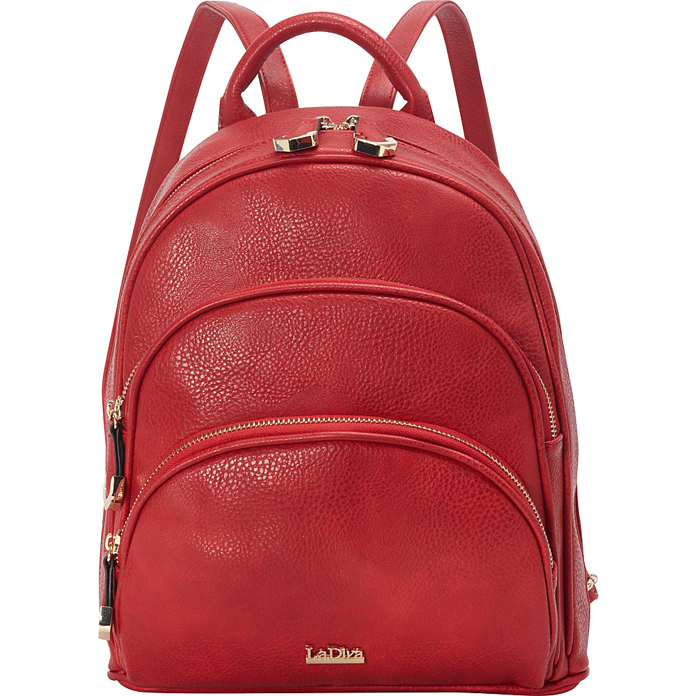 La Diva Multi-Compartment Backpack Red - La Diva Manmade Handbags