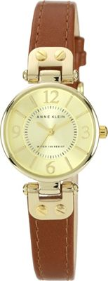 Image of Anne Klein - 109168IVBN Round Dial Leather Strap Watch (Brown) Analog Watches