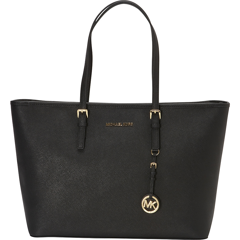 MICHAEL Michael Kors Jet Set Medium Top Zip Multifunction Tote Black MICHAEL Michael Kors Designer Handbags