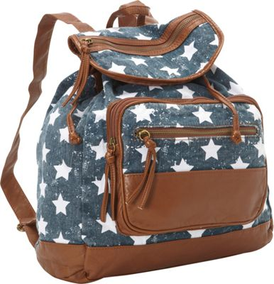 T-shirt & Jeans Star Printed Back Pack Blue - T-shirt & Jeans Everyday Backpacks