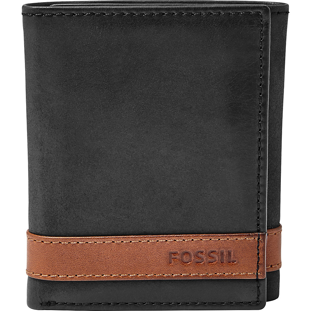 Fossil Quinn Trifold Black - Fossil Mens Wallets - Work Bags & Briefcases, Men's Wallets
