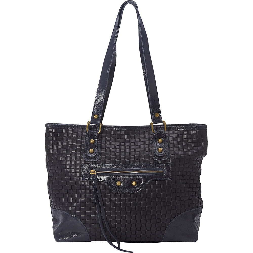 Sharo Leather Bags Woven Italian Leather Tote Navy Blue Sharo Leather Bags Leather Handbags