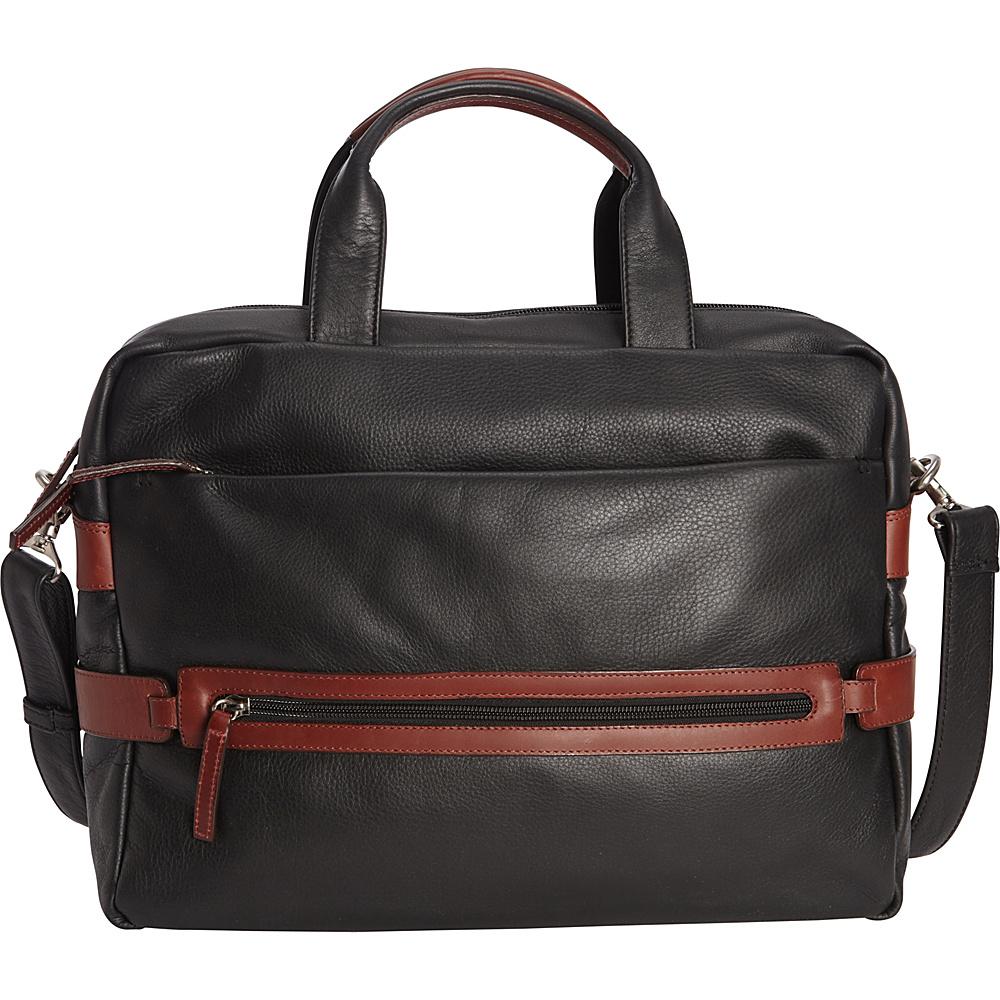 Derek Alexander Top Zip Crossbody with Two Drop Pockets Black/Brandy - Derek Alexander Leather Handbags - Handbags, Leather Handbags