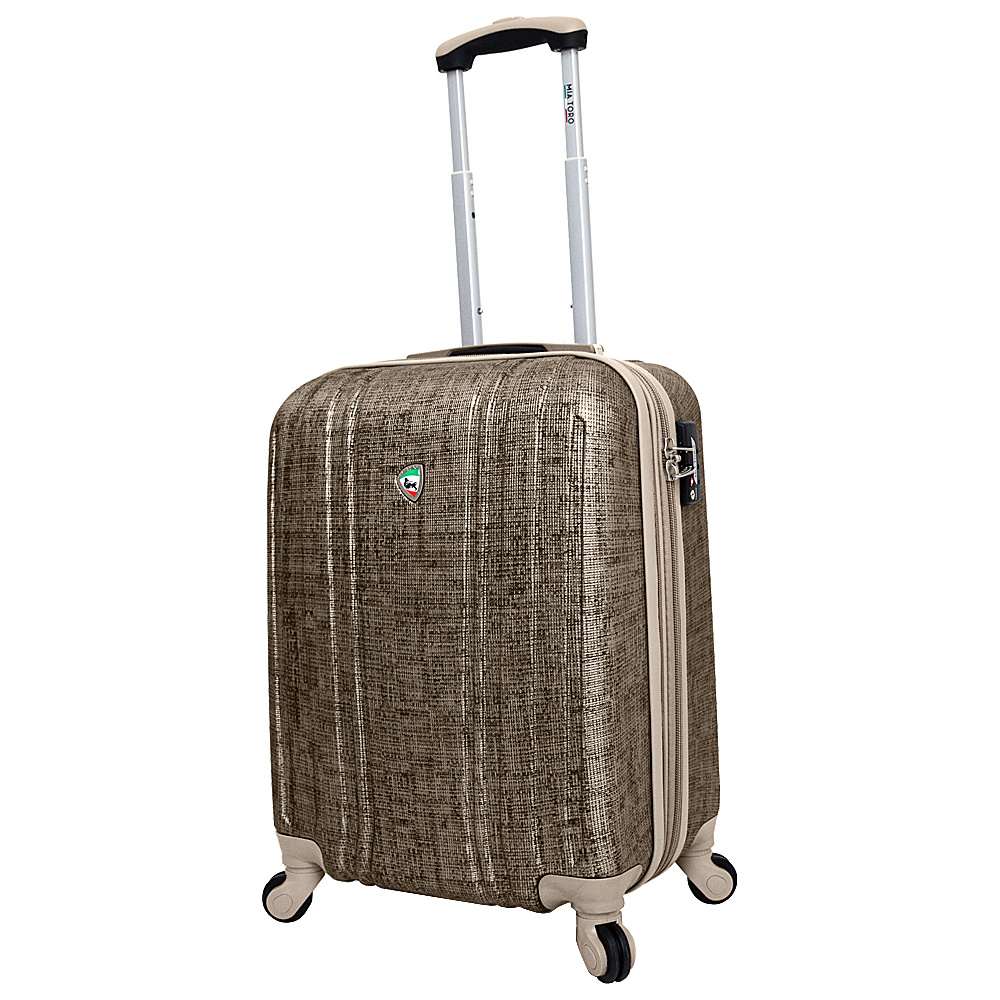 Mia Toro ITALY Macchiolina Abrasa Hardside 20 Spinner Carry On Gold Mia Toro ITALY Hardside Carry On