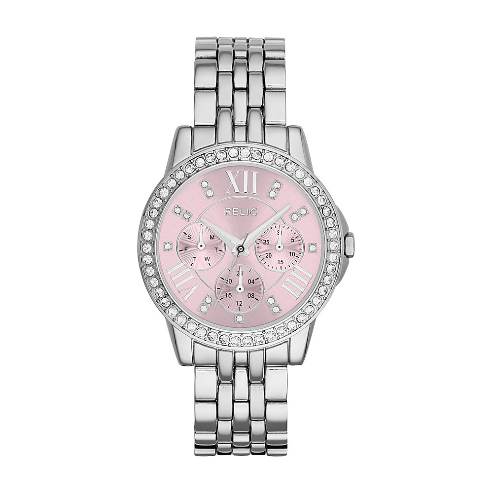 Relic Layla Multifunction Stainless Steel Watch Silver Pink Relic Watches