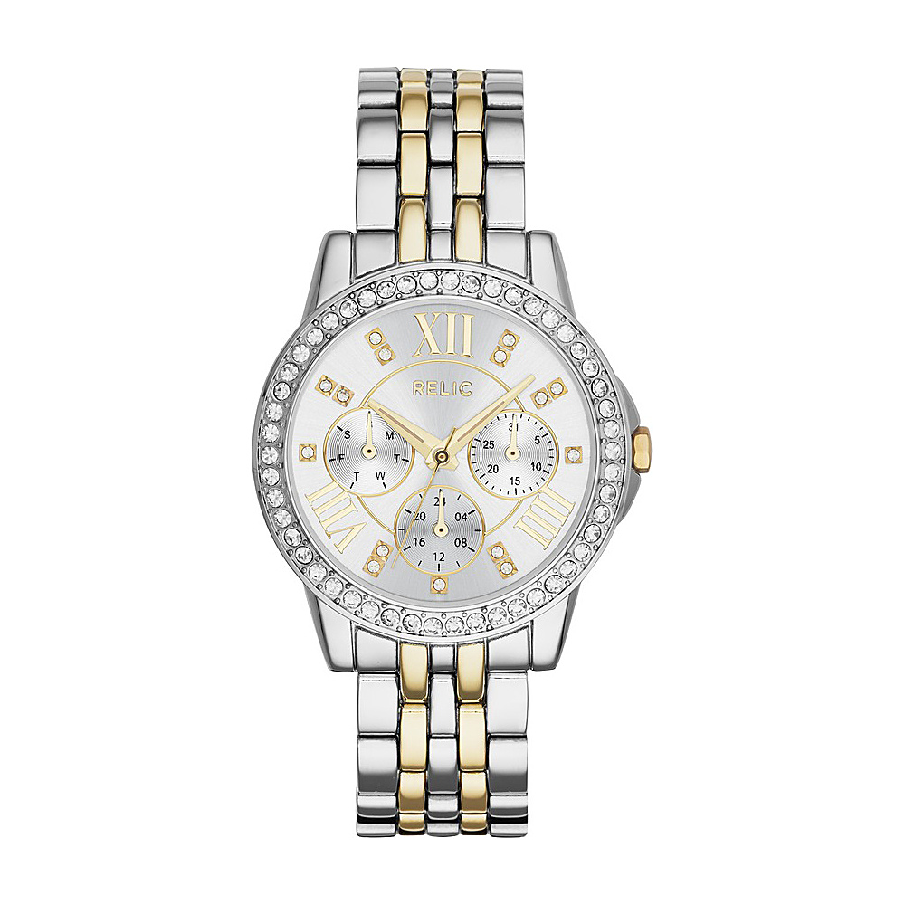 Relic Layla Multifunction Stainless Steel Watch Silver Gold Relic Watches