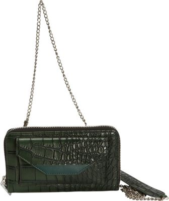 Hang Accessories RFID Crocodile Convertible Wallet/Crossbody Green - Hang Accessories Women's Wallets