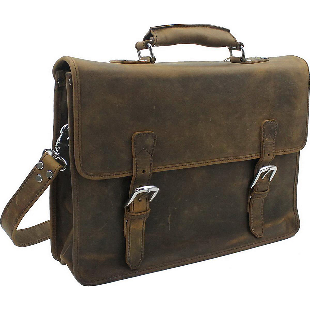 Vagabond Traveler Extra Large Leather Laptop Bag Vintage Brown - Vagabond Traveler Non-Wheeled Business Cases - Work Bags & Briefcases, Non-Wheeled Business Cases