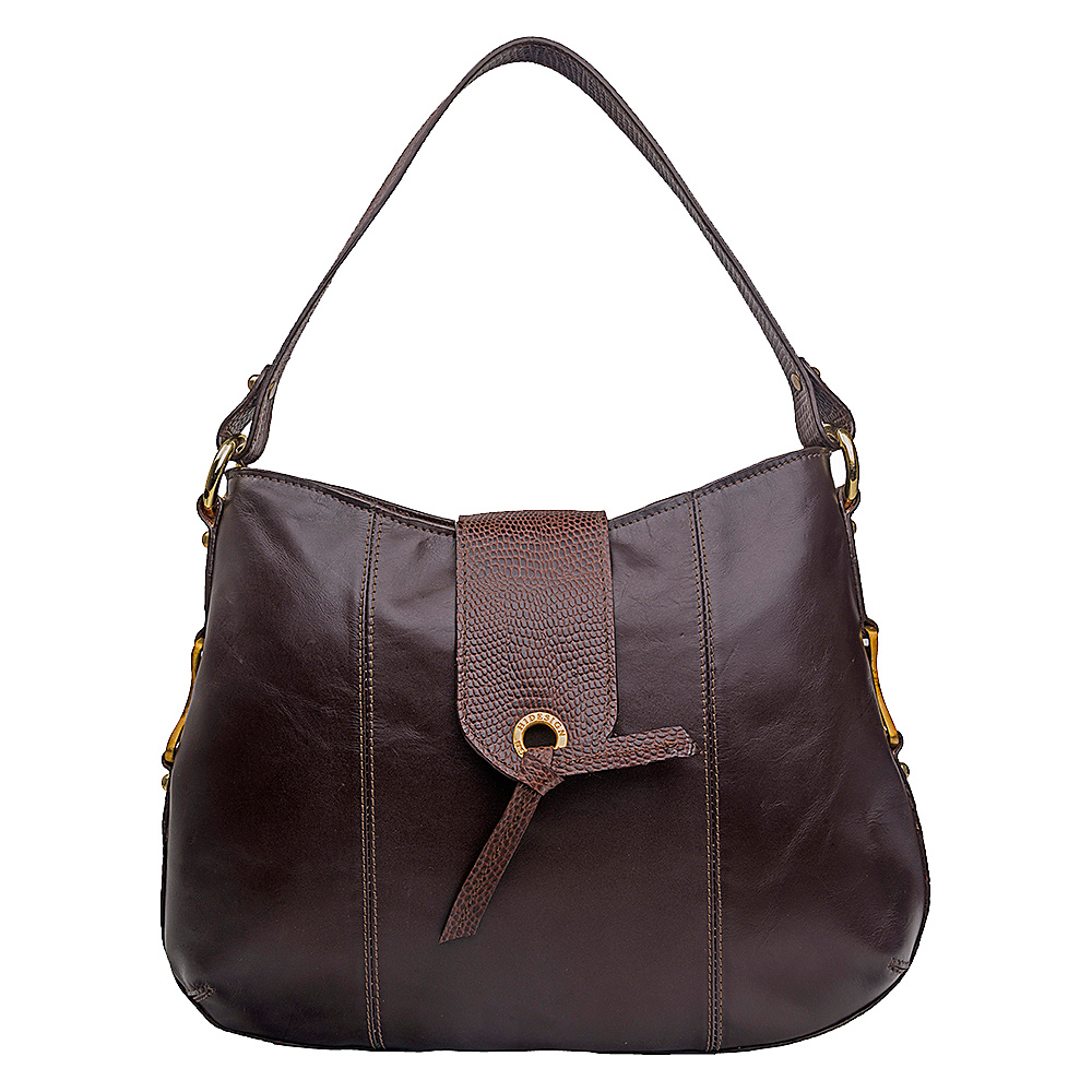 Hidesign Indus Medium Shoulder Bag Brown Hidesign Leather Handbags